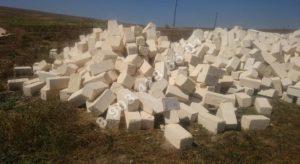 Блоки разных размеров из дагестанского песчаника