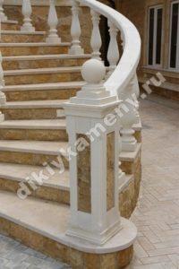 Отделка лестницы материалы мекегинский доломит и акушинский известняк